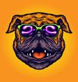 cool pug dog summer sunglasses cartoon vector image vector image
