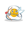 cupid fried egg character cartoon vector image vector image