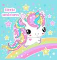 cute kawaii rainbow unicorn among the stars vector image vector image