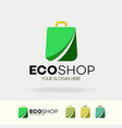 eco shop logotype consisting shopping vector image vector image