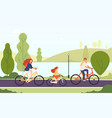 family riding bikes happy parents daughter vector image