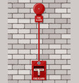 fire alarm system at brick wall fire equipment vector image vector image