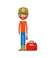 fisherman with box avatar character vector image vector image