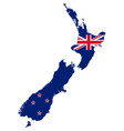 flag in map new zealand vector image vector image