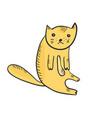 flat cute sketch of sitting outline orange cat vector image