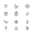 floral icon set flowers and leaves line art icons vector image vector image