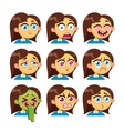 Girl emotion faces vector image vector image