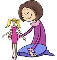 girl with toy doll cartoon vector image vector image