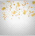 golden flying blur confetti on transparent vector image