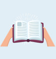 hands holding book vector image