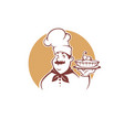 happy cartoon chef holding a sweet pear pie vector image vector image
