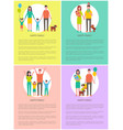 happy family set banner cartoon style vector image