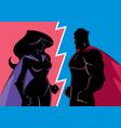 hero versus heroine silhouette vector image