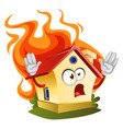 house on a fire on white background vector image vector image
