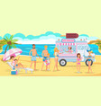 ice cream truck on beach vector image vector image