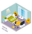 isometric hotel room interior vector image