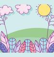 landscape leaves foliage ecology nature grass sun vector image