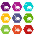 lawn mower machine icons set 9 vector image