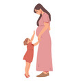 little girl touches her pregnant mom s belly vector image vector image