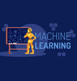 machine learning robot looking flat vector image vector image