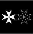 maltese cross icon set white color flat style vector image vector image