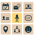 media icons set with community microphone event vector image