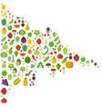 megaphone vegetables fruits vegetables organic vector image