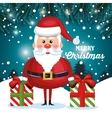 merry christmas card santa and gift with snow vector image vector image