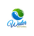 natural water icon with leaf and drop vector image