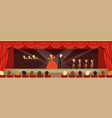 opera singers singing on stage with symphonic vector image vector image