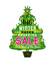 poster with christmas tree snowflakes and sale vector image