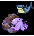 Purple octopus and blue shark two cute characters vector image vector image