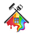 roller and brush for painting houses vector image vector image