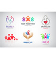 set family kids support charity vector image