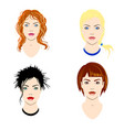 set of women heads with different types of vector image vector image
