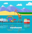 Ship Worldwide Warehouse Delivering Logistics vector image vector image