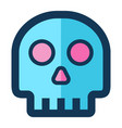 skull medical icon filled line pink blue color vector image vector image