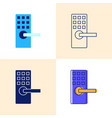smart lock icon set in flat and line styles vector image