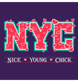 T shirt typography graphic New York chic hearts vector image vector image