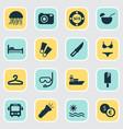 tourism icons set with lifebuoy jellyfish ship vector image