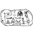 treasure map with pirate symbols vector image