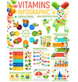 vitamin infographics healthy nutrition charts vector image vector image