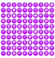 100 bullet icons set purple vector image vector image