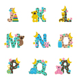 alphabet bafrom j to r vector image vector image