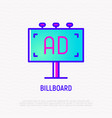 billboard thin line icon outdoor advertising vector image