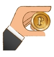 Bitcoin icon money symbol in the hand
