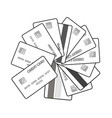 black and white set of credit cards vector image