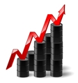 black metal oil barrel with graph and a red arrow vector image vector image