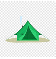 camping green tent icon flat style vector image