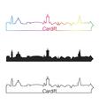 Cardiff skyline linear style with rainbow vector image vector image